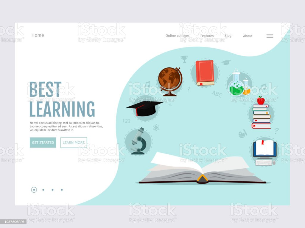 Open Book With Set Elements Knowledge Icons Elearning Online