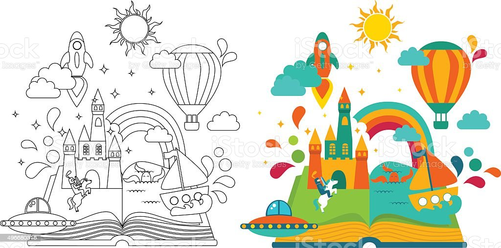 Open Book with set of vector elements vector art illustration