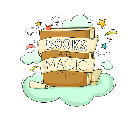 Open Book with set of vector fairy tale elements, icons and illustrations, book event, festival poster, cover template design
