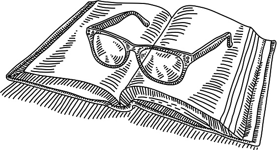 Open Book with spectacles Drawing