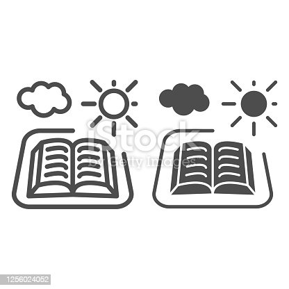 istock Open book with sun and cloud line and solid icon, picnic concept, outdoor reading sign on white background, Open book icon in outline style for mobile concept and web design. Vector graphics. 1256024052