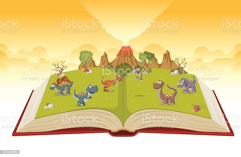 Open book with volcano and funny cartoon dinosaurs. vector art illustration