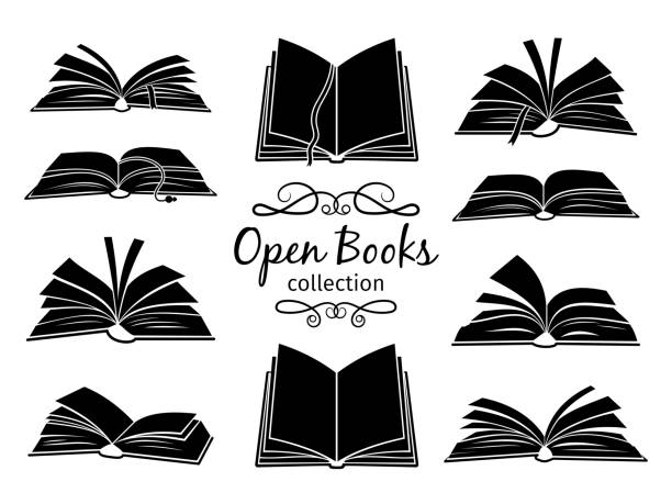 Open books black silhouettes Open books black silhouettes. Book reading icons vector illustration isolated on white for library logo or education symbol book silhouettes stock illustrations