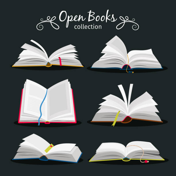 Open books. New open book set with bookmark between pages for encyclopedia and notebook, dictionary and textbook icons vector art illustration