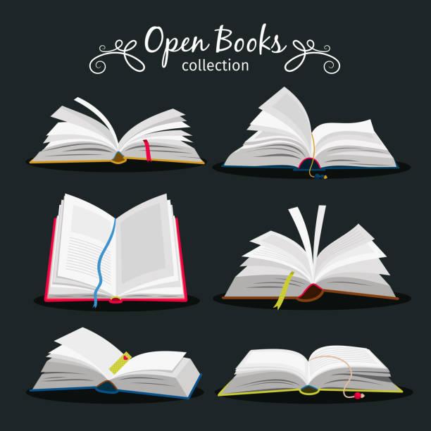 ilustrações, clipart, desenhos animados e ícones de livros abertos. novo livro aberto com indicador entre as páginas para livre e notebook, dicionário e ícones de livros didáticos - aberto