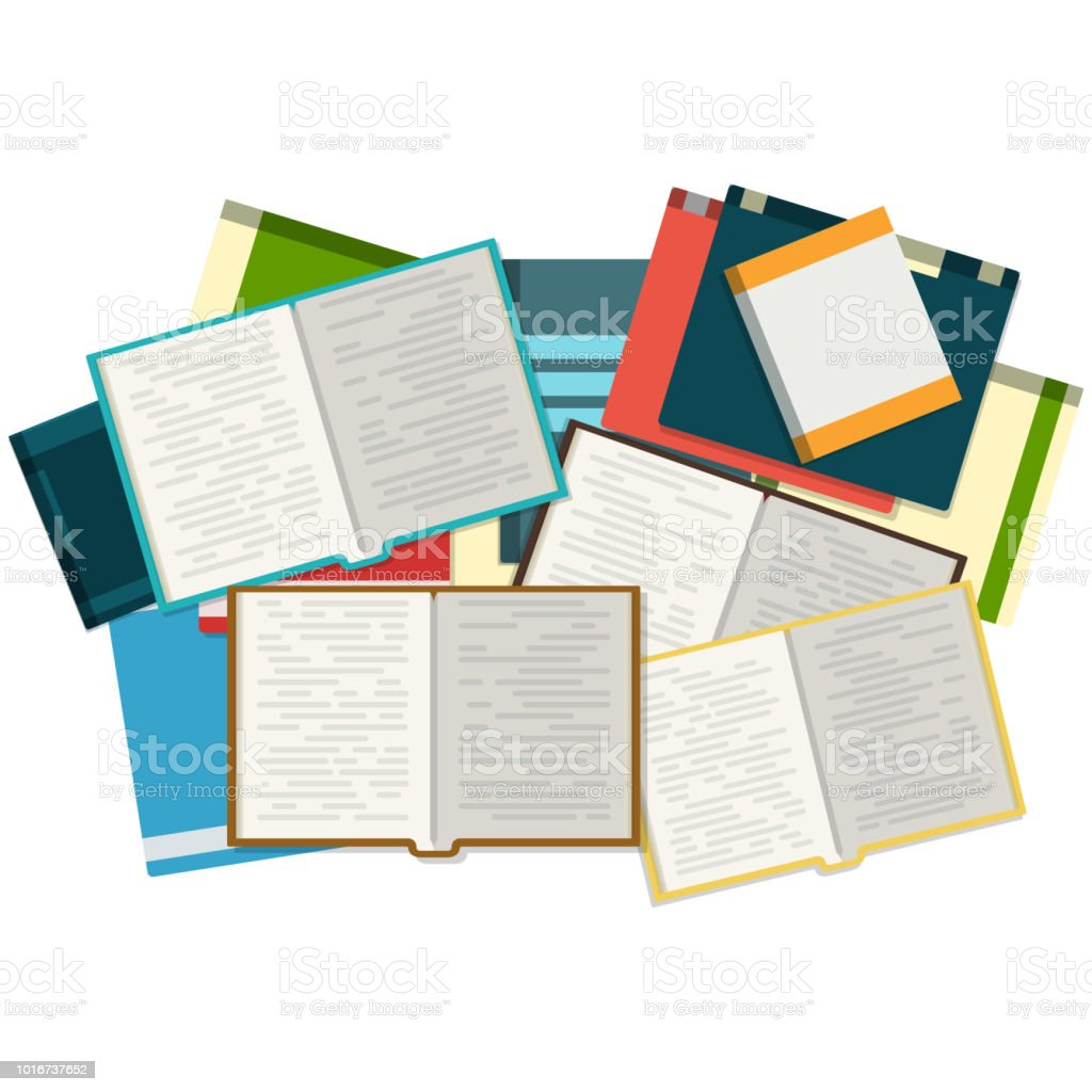 Open books with piles of books on the background. vector art illustration