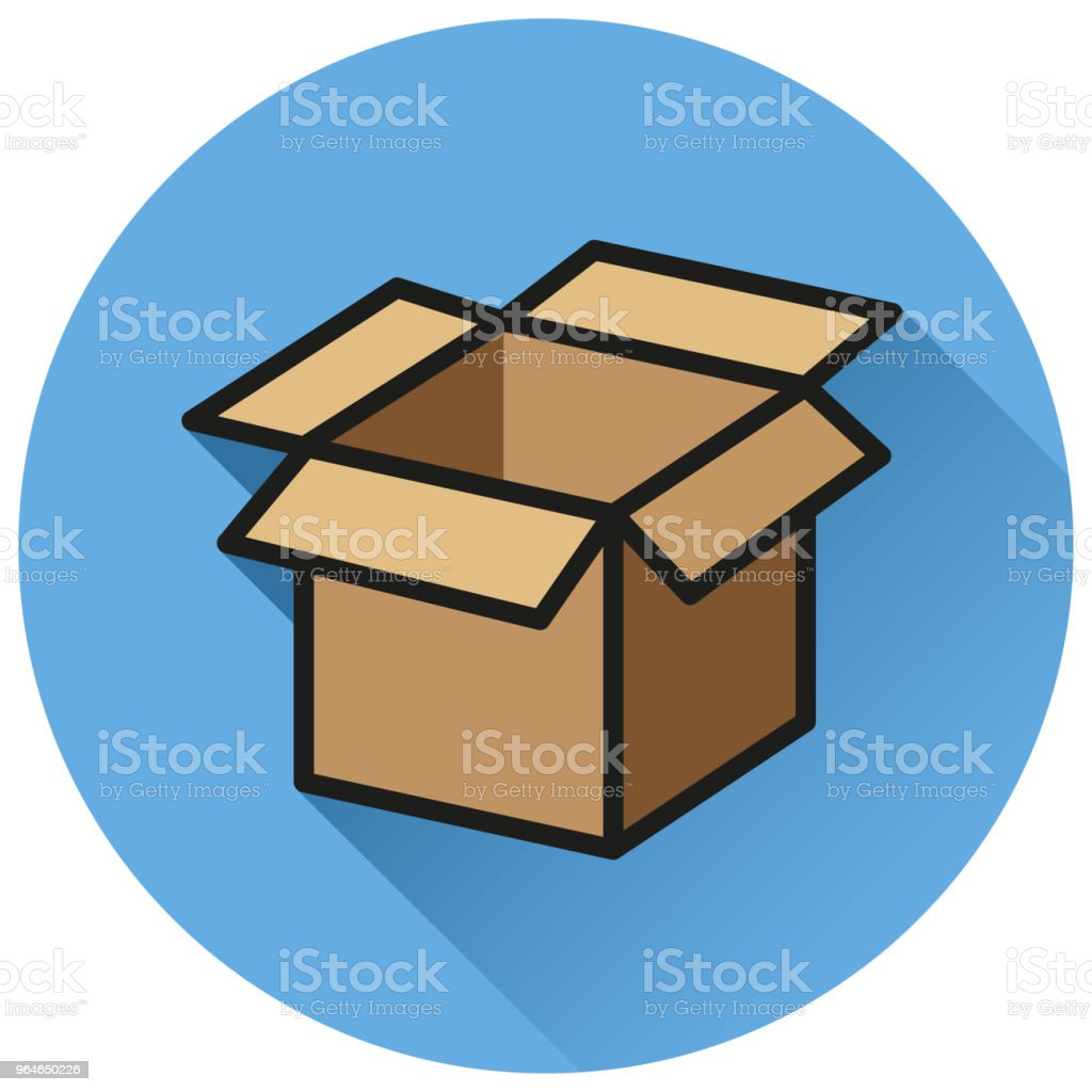 open box circle flat icon royalty-free open box circle flat icon stock vector art & more images of box - container