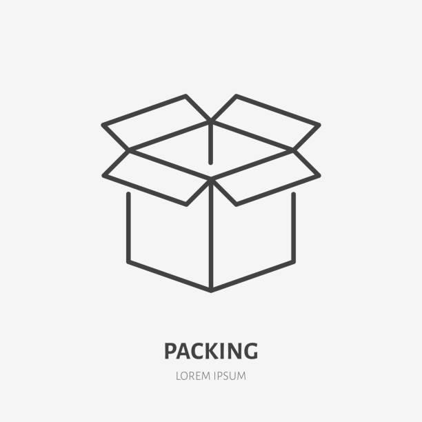 ilustrações de stock, clip art, desenhos animados e ícones de open box flat line icon. delivery, packing sign. thin linear logo for freight services, cargo shipping - caixa