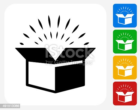 Open Box Icon. This 100% royalty free vector illustration features the main icon pictured in black inside a white square. The alternative color options in blue, green, yellow and red are on the right of the icon and are arranged in a vertical column.