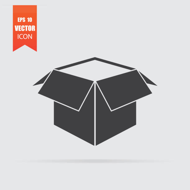 Bекторная иллюстрация Open box icon in flat style isolated on grey background.