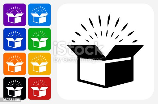 Open Box Icon Square Button Set. The icon is in black on a white square with rounded corners. The are eight alternative button options on the left in purple, blue, navy, green, orange, yellow, black and red colors. The icon is in white against these vibrant backgrounds. The illustration is flat and will work well both online and in print.