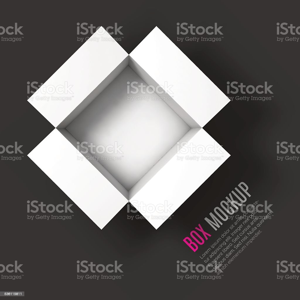 Open box mockup template. Top view vector art illustration
