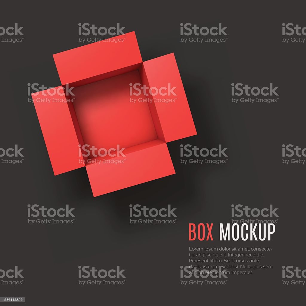 Open box mockup template. Top view vektorkonstillustration