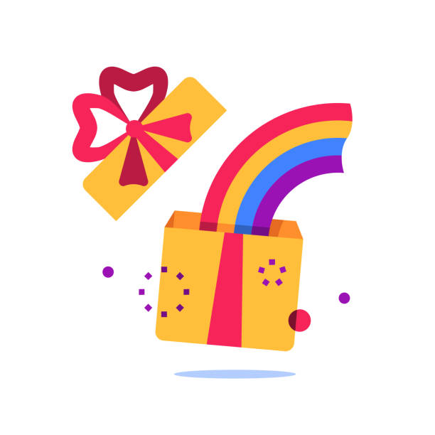 Open box, surprise gift and rainbow, special reward, prize giveaway, loyalty present, creative idea