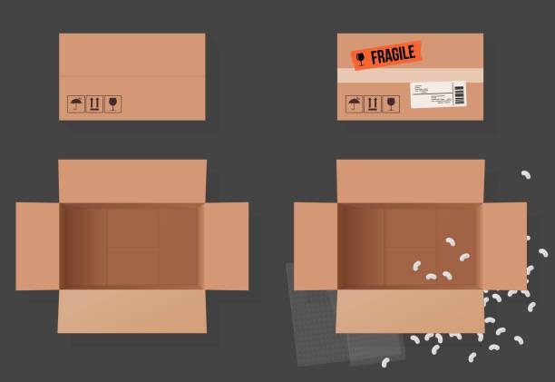 open box - karton tworzywo stock illustrations