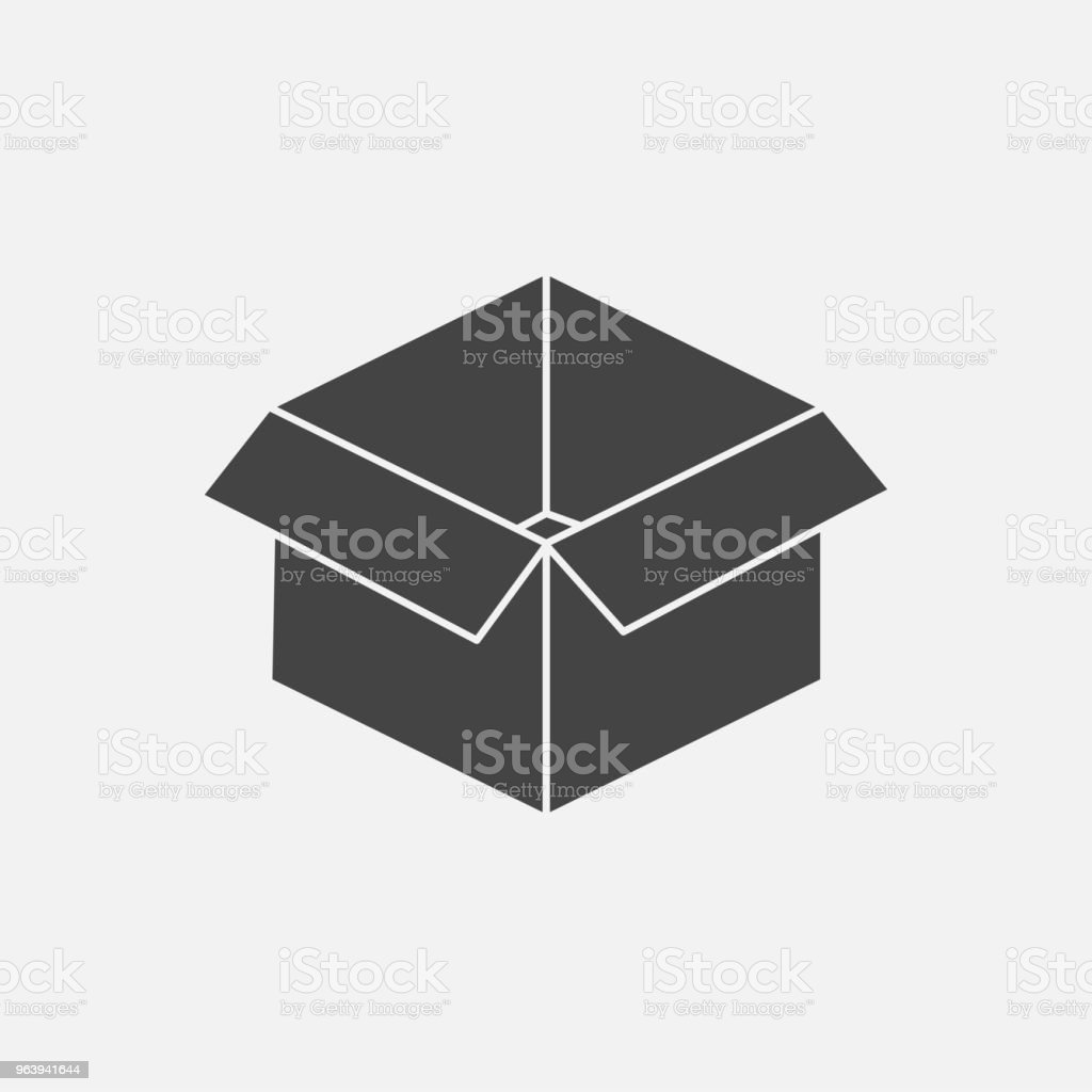 Open box vector image. Sign of parcel and goods. - Royalty-free Black Color stock vector