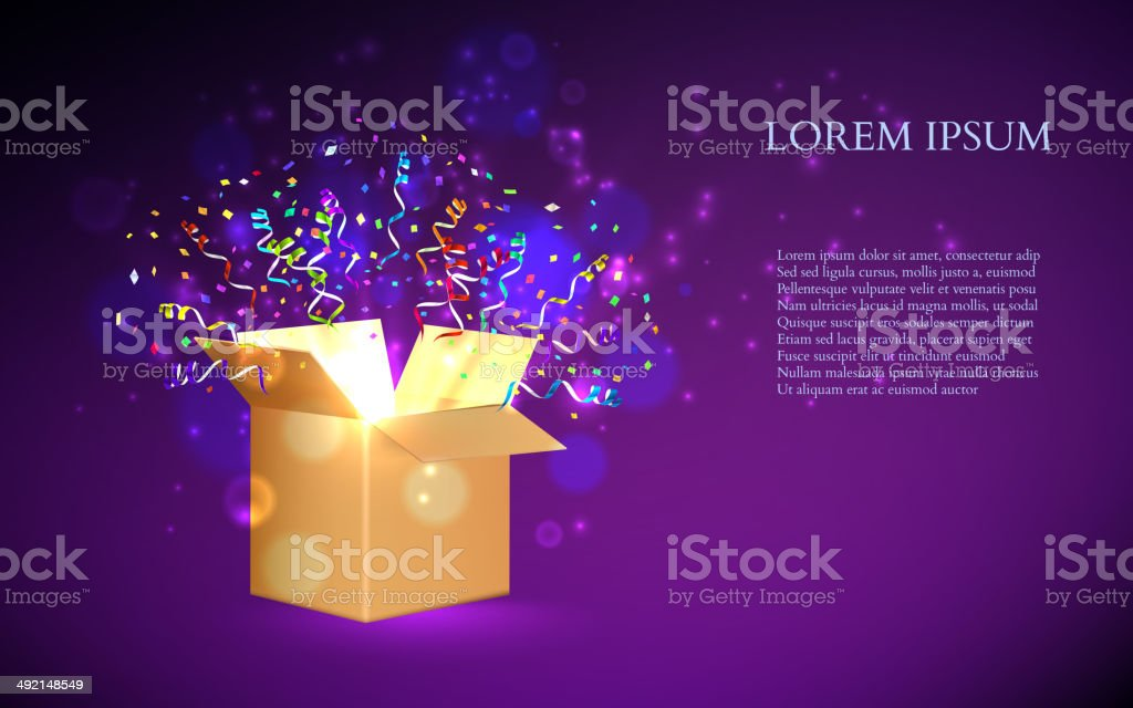 Open Box With fireworks from confetti. Vector vector art illustration