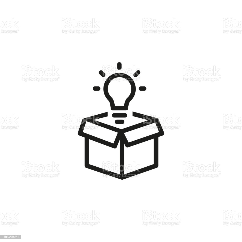 Open Box With Light Bulb Line Icon Stock Illustration