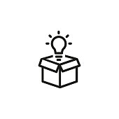 Open box with light bulb line icon