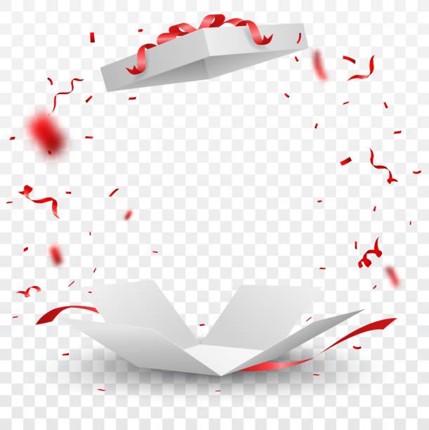 otwórz pudełko z czerwonym konfetti, odizolowane na przezroczystym tle - gift stock illustrations