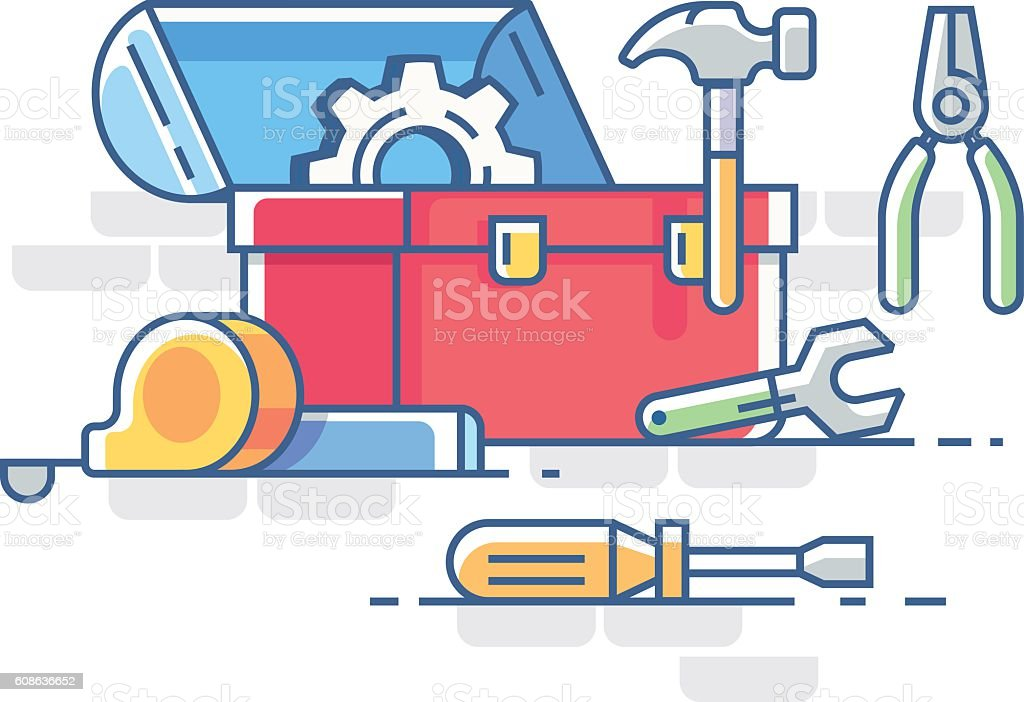 open box clipart. open box with tools vector art illustration clipart