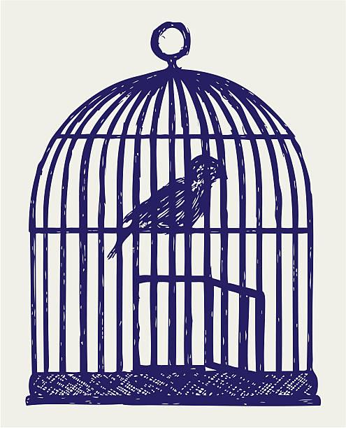 illustrations, cliparts, dessins animés et icônes de ouvert en laiton cage à oiseaux et oiseaux - dessin cage a oiseaux