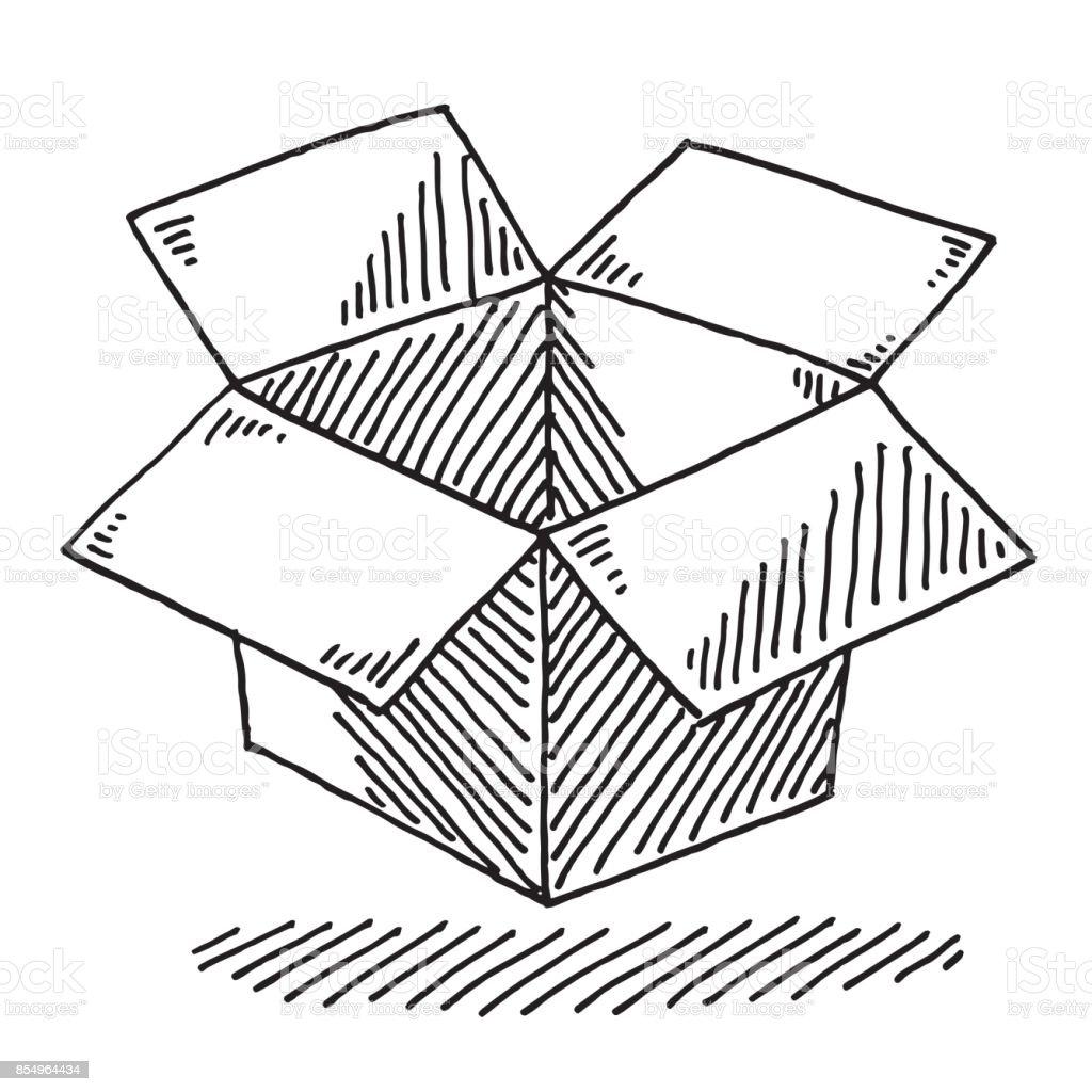 Open Cardboard Box Drawing vector art illustration