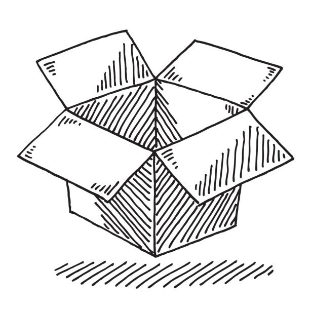 Open Cardboard Box Drawing Hand-drawn vector drawing of an Open Cardboard Box. Black-and-White sketch on a transparent background (.eps-file). Included files are EPS (v10) and Hi-Res JPG. transportation stock illustrations