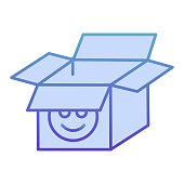 Open cardboard box flat icon. Packaging blue icons in trendy flat style. Open paper box gradient style design, designed for web and app. Eps 10