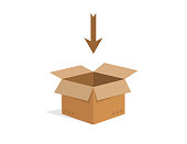 Open cardboard box. Isolated carton shipping container. Delivery cardbox in brown color and flat design. Empty box with arrow above. Tamplate of blank package. Modern mockup. EPS 10