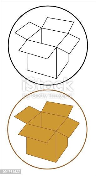 Open cardboard box set icon. EPS10 vector