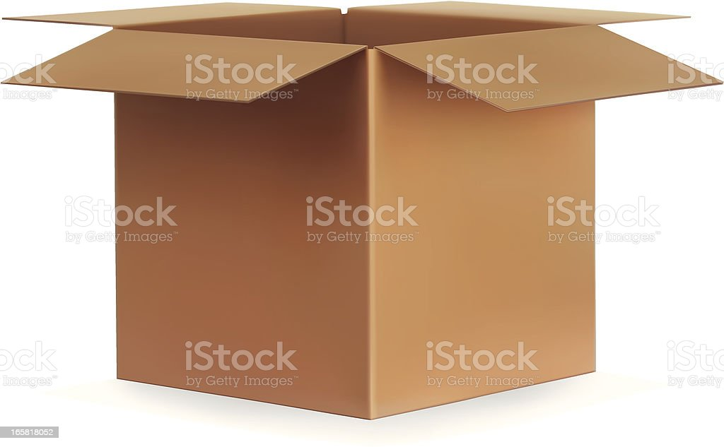 Open Cardboard Box vector art illustration