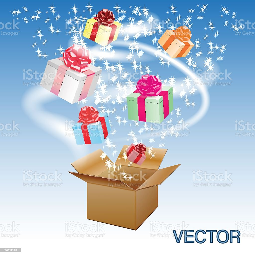 Open cardboard box with an a gifts.Vector royalty-free open cardboard box with an a giftsvector stock vector art & more images of abstract