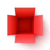 Open cardboard red box. Corrugated Cardboard.