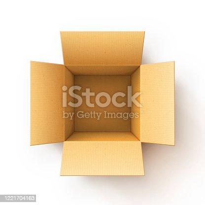 Open Cardboard Shipping Box. Corrugated Cardboard