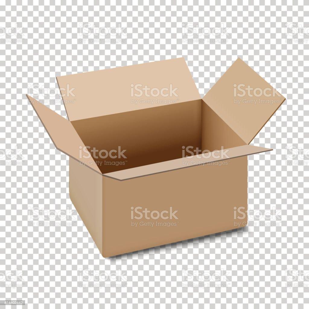 Open carton box icon, isolated on transparent background vector art illustration