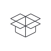 open carton box thin line icon. Linear vector symbol