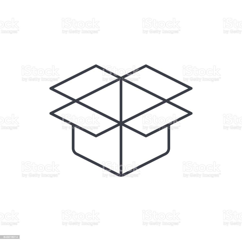 icône de fine boîte carton ouvert. Symbole vecteur linéaire - Illustration vectorielle