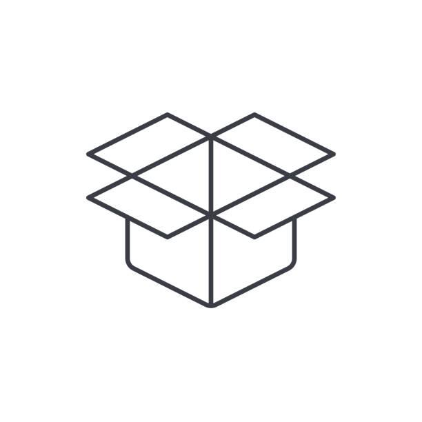 open carton box thin line icon. Linear vector symbol vector art illustration