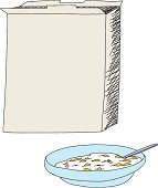 Open cereal box with bowl of corn flakes over white