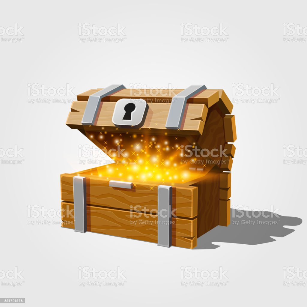 Open chest with gold. vector art illustration