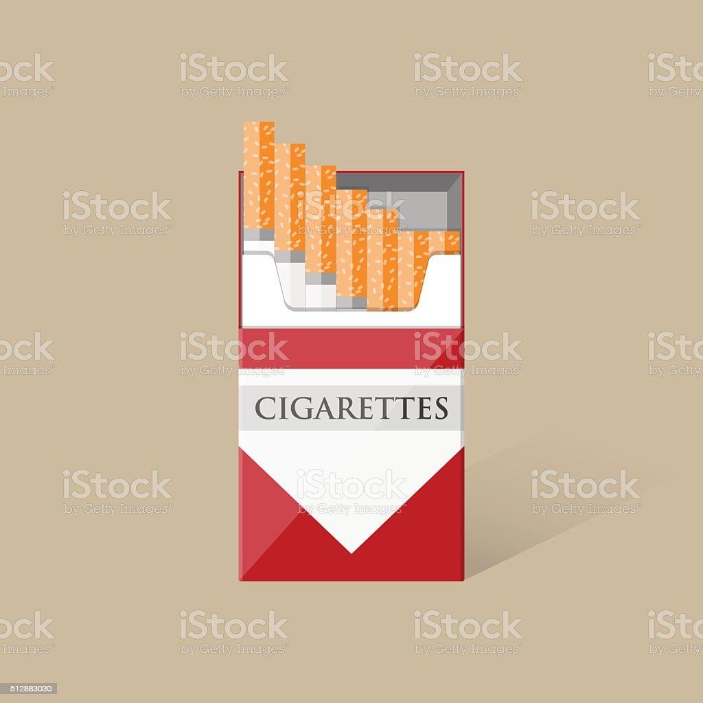 Ilustración de Abierto De Paquete De Cigarrillos y más banco de ...