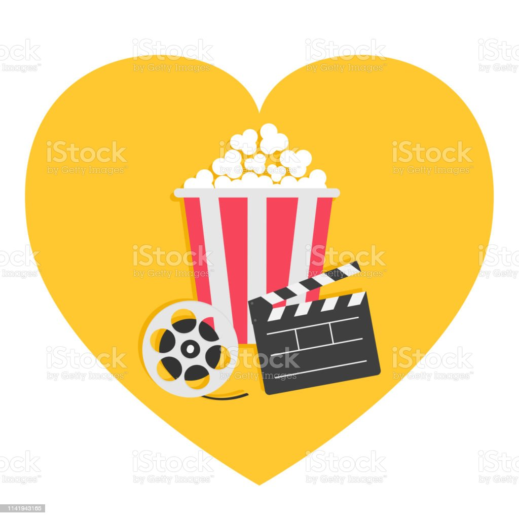 Open clapper board Movie reel Popcorn Cinema icon set. Heart shape. I...