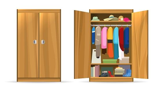 Open closets cupboard wardrobe