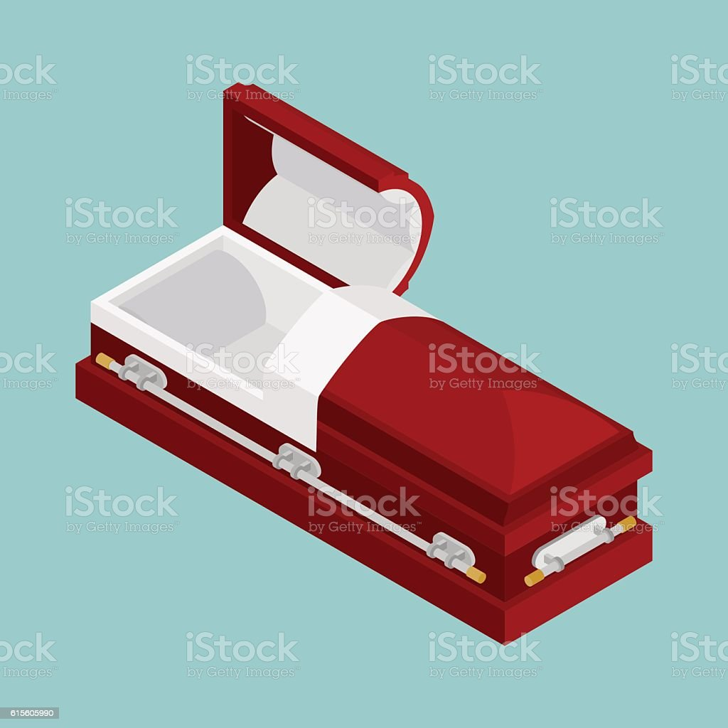 Open coffin isometrics. Wooden casket for burial. Red hearse. Re vector art illustration