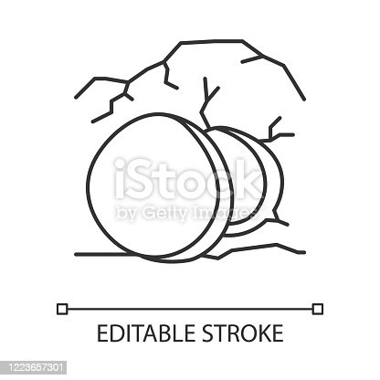 Open coffin linear icon. Cave with large stone at entrance. Resurrection day. Easter Sunday. Thin line illustration. Contour symbol. Vector isolated outline drawing. Editable stroke