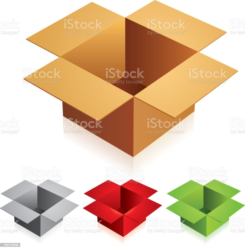 Open color cardboard boxes royalty-free stock vector art