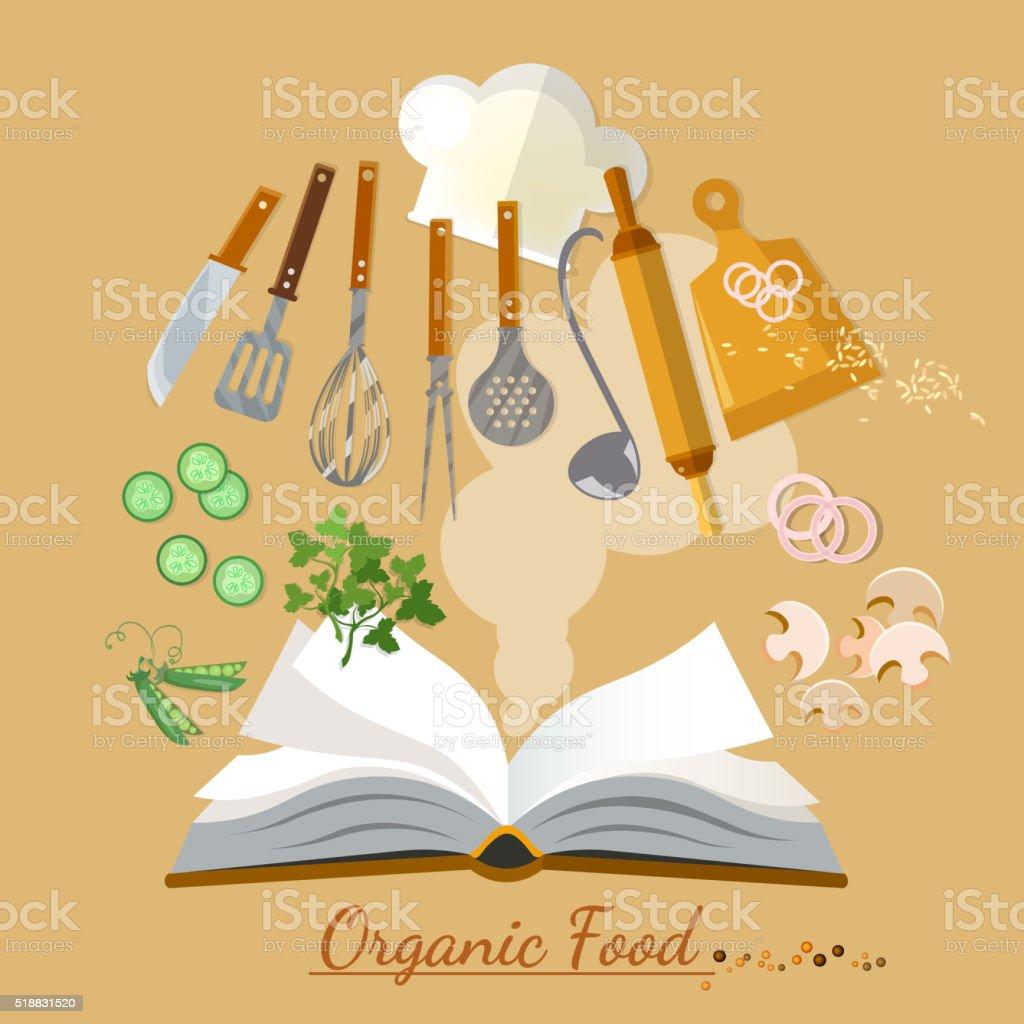 Open cookbook kitchenware flat style vector art illustration