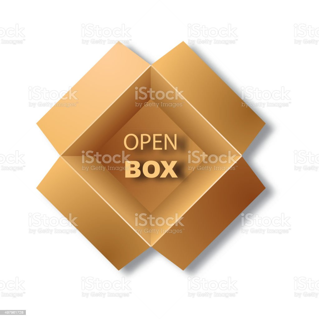 Open corrugated box. Top view. Vector illustration vector art illustration