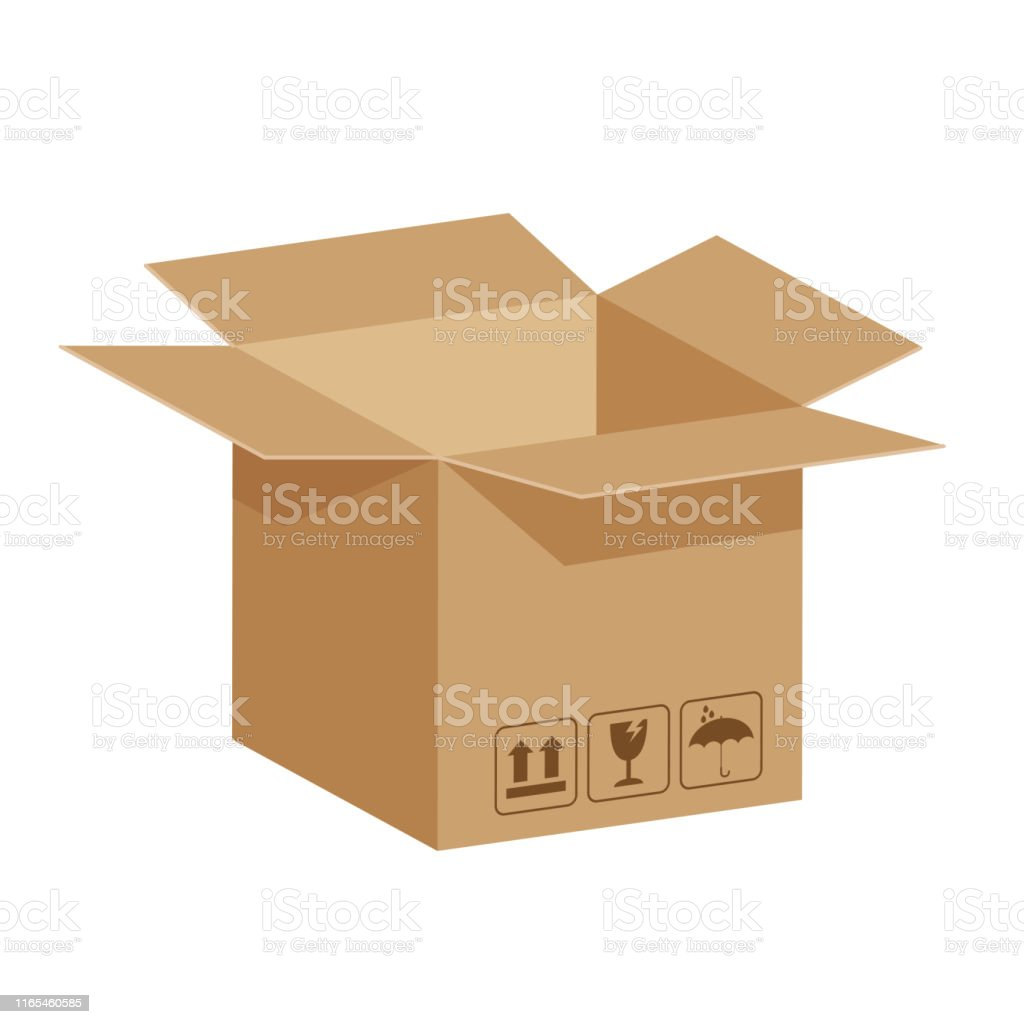 open crate boxes 3d, cardboard box brown, flat style cardboard parcel...